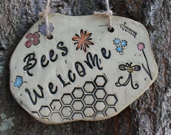 Bees Welcome Ceramic Garden Sign