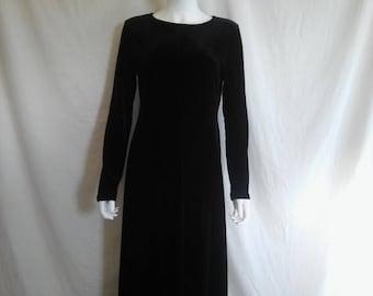 Closing Shop 40%off SALE 90's velvet dress long sleeve  black stretch