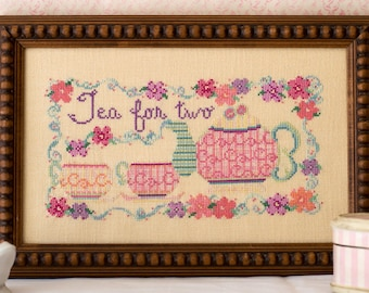 Teapot Flowers Cross Stitch Pattern
