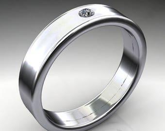 finn ring - men's gold wedding band, moissanite ring