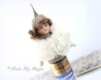 Abella Miniature Evening in Paris Art Doll Perfume Bottle Cobalt Blue One-of-a-Kind Doll Lorelie Kay Original