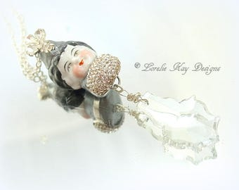 Little Princess Crystal Necklace Sculpted China Doll Head Frozen Charlotte Doll Head with Crown Pendant Lorelie Kay Orignal