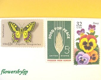 Rustic Nature Postage Stamps, Bright Color Garden Flowers - Yellow Butterfly - Wheat Stamps, Mail 10 Letters Cards RSVPs 1 oz 49 cent unused