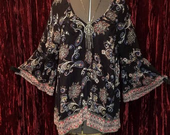 Black Paisley Bell Sleeve Top Blouse, Witchy Woman BOHO Bohemian Gypsy