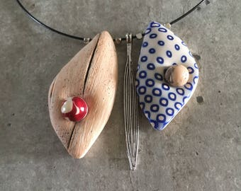 necklace with polymer clay pendants - new collection