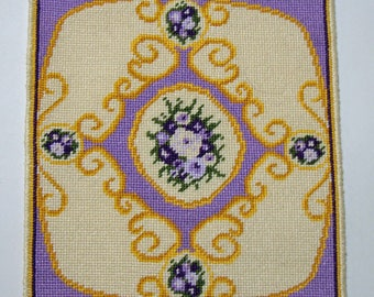 Dollhouse Miniature Floral Medallion Needlepoint Rug - Lavender
