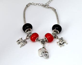 Georgia Bulldogs European Beaded Charm Football Bracelet