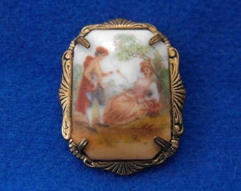 Antique Brooch, Porcelain, Fragonard Style, Limoges-Like, ca 1910-1920  NT-1356