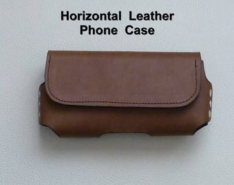 Horizontal Leather Cell Phone Case,  Leather Cell Phone Holster, Leather Smart Phone Case
