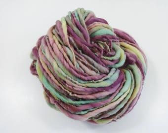 Handspun Yarn Bulky Thick and Thin Merino Wool 100 yards burgundy pink gold green