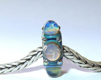 Luccicare Lampwork Bead - Wheel II -  Lined with Sterling Silver
