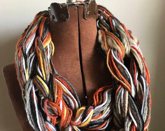 Pumpkin Spice Latte -  textured handknit bulky cowl, ready to ship, bulky lightweight warm oversized cowl