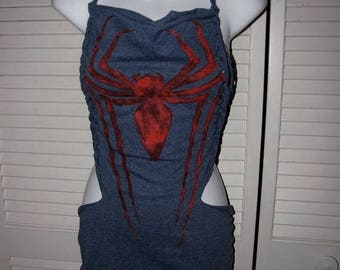 snip snip its my birthday classic vintage looking spider man red blue shredded backless party t shirt tunic micro mini dress cover up costum