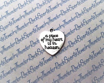 a piece of my heart is in heaven CHARM, heart Antique Silver, engraved Word PENDANT, phrases, sayings, MESSAGE, memorial, Christian, comfort