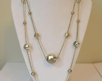 Gold Chain Necklace, 1970s Necklace, Glass Bead Necklace, Vintage Necklace, Strand Necklace, Long Gold Chain Necklace