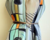 Hand Painted Silk Scarf. Miró style silk scarf. Hand Painted Silk Shawl. 71x18 in. Wedding Gift. Ooak scarf.