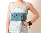 Green summer tank top - Sleeveless top in patterned fabrics and striped jersey, Summer clothing, Womens tops, MALAM, size S