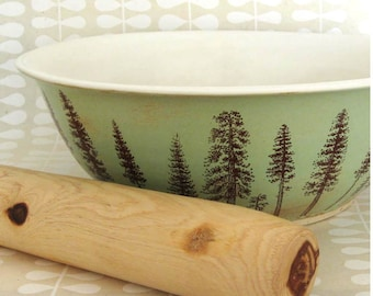 Large Ceramic  Bowl - Pine Trees  - 10 cups -  Pine Trees - Ready to Ship - Hand Thrown Stoneware Pottery