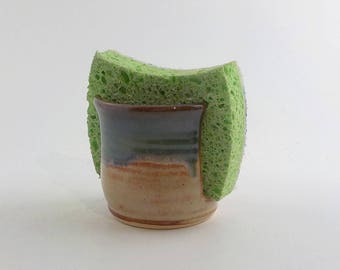 Sponge Holder - Ceramic Sponge Drying Bowl - Stoneware Napkin Caddy - Kitchen Essential - Ready to Ship - Shino and Mossy Blue Green h450