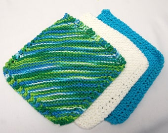 Knitted Cotton Wash Cloth Set of Three - Teal, Emerald and White - Ready to Ship