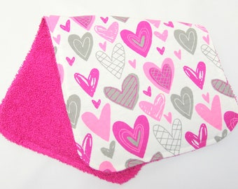 Baby Girl Burp Cloth, Baby Shower Gift, Welcome Baby Gift, New Baby Gift, New Mom Gift: Funky Pink, Magenta, Gray Hearts on White