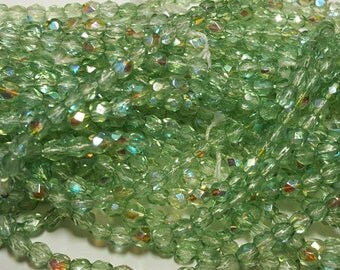 50 - Vintage Czech Fire Polished Glass 4mm Faceted Round Beads - Pale Green Transparent AB