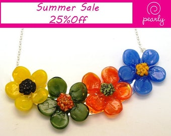 Pearly Colorful Flower Necklace - Lampwork Jewelry - Lampwork Necklace - Glass Bead Jewelry - Glass Bead Necklace