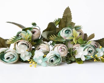 13 Small Mini Vintage Inspired Ranunculus Buds in Sea Green and Gray plus Foliage - silk artificial flower - ITEM 01172