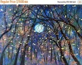 Fathers Day- 15 % off Giclee Canvas Print  Copper moon  and Fireflies Vadal - 20 x 16