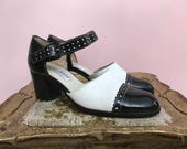 1980s shoes vintage Mary Janes black and white ankle strap shoes vintage spectators size 6 1/2