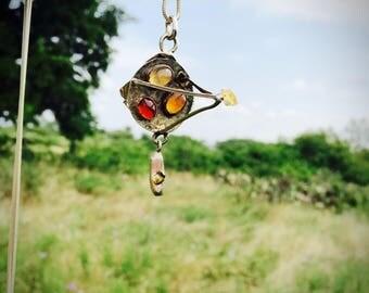 Fire Opal Geometric Counter Balance Necklace-Gemstone Necklace-Vegan Necklace-Vegan Gift-Gemstone Jewelry-OOAK-Art Jewelry-Birthday