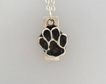 I love my Mutt Paw Print Necklace in Sterling silver Metal Clay-Rescue Dog-mutt necklace-Dog Lover-paw print-Gift-Birthday-Anniversary-Vegan