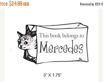 Xmas in July Cat in the Bag Personalized Bookplate Stamp H27