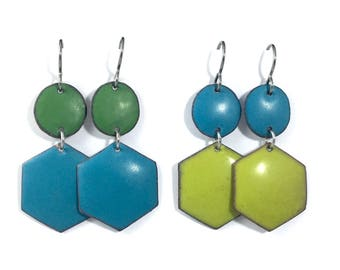 Modern Hexagon Enamel Dangle Earrings Matte finish Turquoise Green Pear Geometric