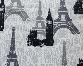 Paris and London, Font Fabric, Eiffel Tower, Big Ben