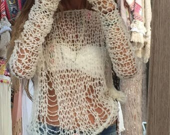 ivory white sweater,distressed top, distressed knit, net sweater, beach sweater, loose knit, open weave  The iLE AiYE summer grunge sweater