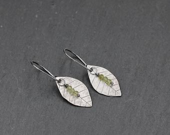Leaf Peridot Earrings, Sterling Silver Peridot Earrings, Green, August Birthstone, Gift For Her