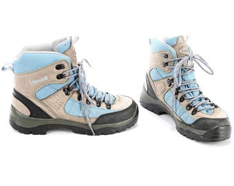 Retro Trekking Boots 1980s Suede Leather Hi Top Sneakers Unisex Grey Blue Wide Fit Booties Hiking Survivor size US mens 7.5, Eur 40, UK 7