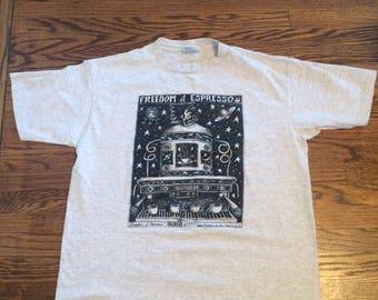 Vintage 1990's mens or womens coffee/espresso funny tshirt. Size XL