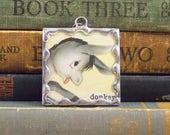 Cute Donkey Pendant - Vintage Dictionary Book Jewelry - Gray Donkey Jewelry - Farm Animal Donkey Charm - Soldered Glass Charm -