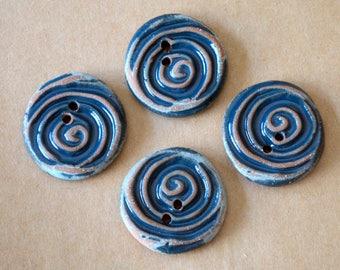 4 Handmade Ceramic Buttons - Spiral Buttons in Glossy Denim Glaze over Brown Stoneware - Celtic Handmade Buttons - Renaissance Fair