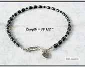 Hematite Anklet, Black Ankle Bracelet, Chakra Ankle Bracelet  AB2013-04
