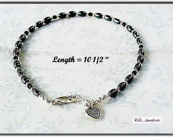 Black Ankle Bracelet, Root Chakra Hematite Anklet, Black and Silver Ankle Bracelet,  AB2013-04C