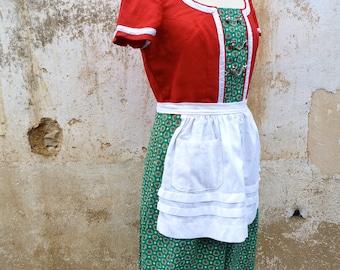 Vintage 1970/70s Tyrol Austria October fest dirndl dress embroidered +  white  apron /size M/L