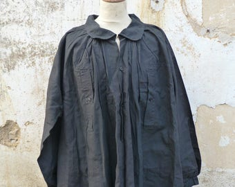 Antique 1890s French Victorian black thick linen biaude / workwear / farmer shirt/chore short
