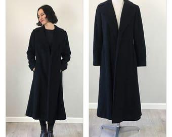 Vintage 50s black Cashmere Unisex coat  S   M
