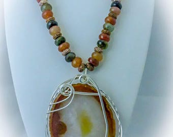 Autumn Agate Necklace, Earrings, and Pendant  Set