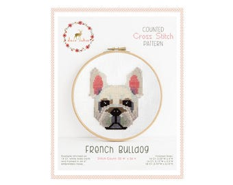 Counted Cross Stitch Pattern - French Bulldog / dog cross stitch, diy, how-to, embroidery, pattern, gift, supply, instruction, pet
