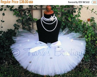 "SUMMER SALE 20% OFF White Tutu - Snow Angel Tutu - White Snowflake Embellished Tutu - Custom Sewn 8"" Tutu"