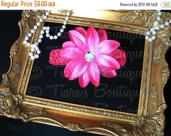 SUMMER SALE 20% OFF Pink Girls Headband Photo Prop - Hot Pink Lily w/ Rhinestone Center on Headband - Flower Headband Made to Match Your Tut